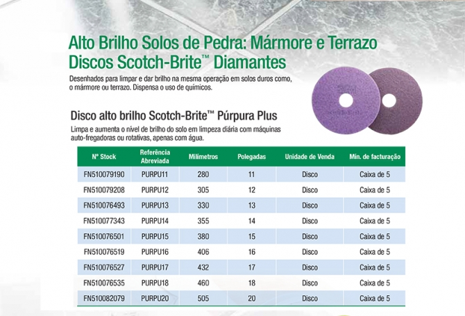 Disco alto brilho Scotch-Brite™ Púrpura Plus